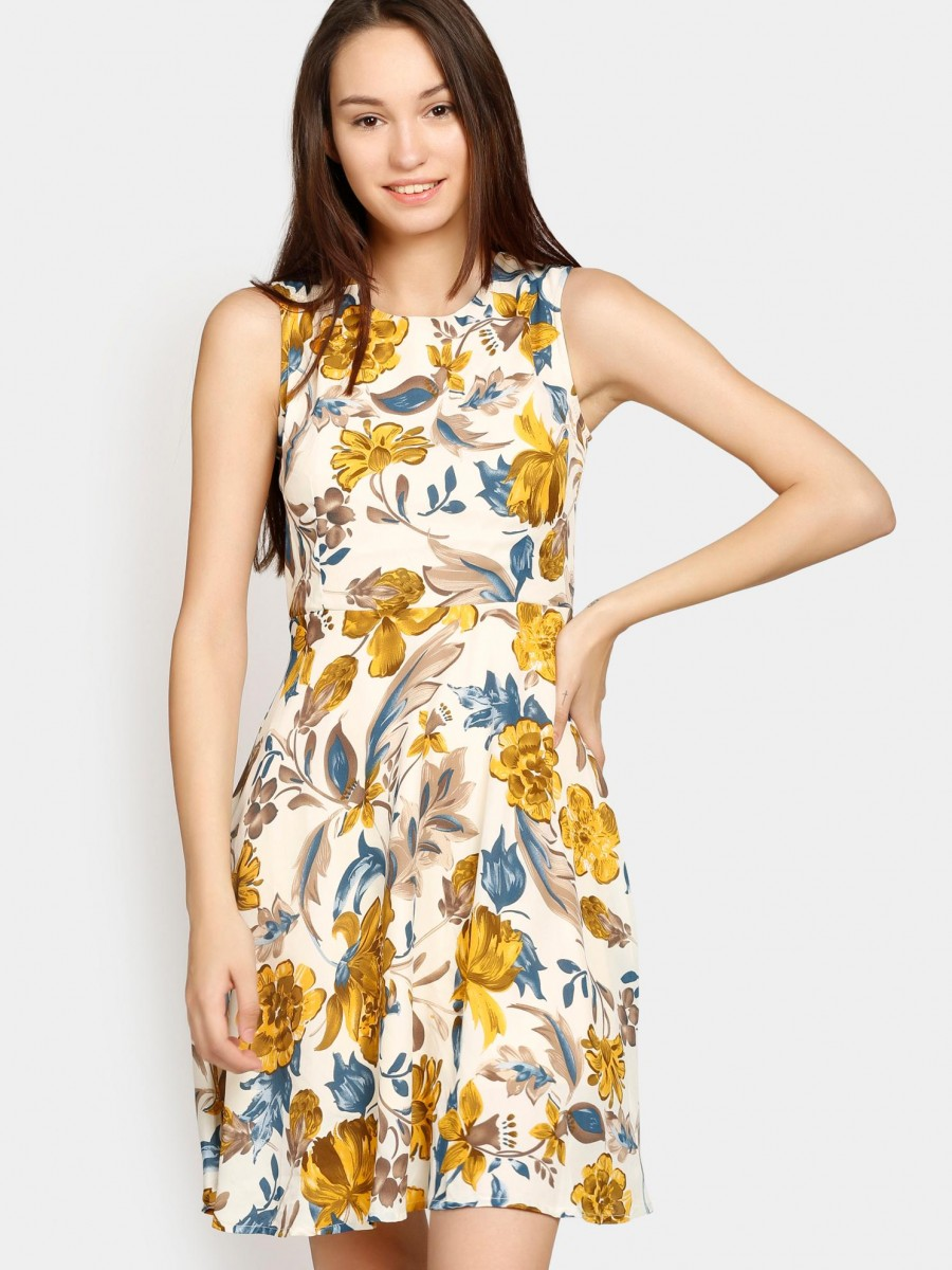 Buy Nineteen Women Off-white & Yellow Floral Print Fit & Flare Dress Online