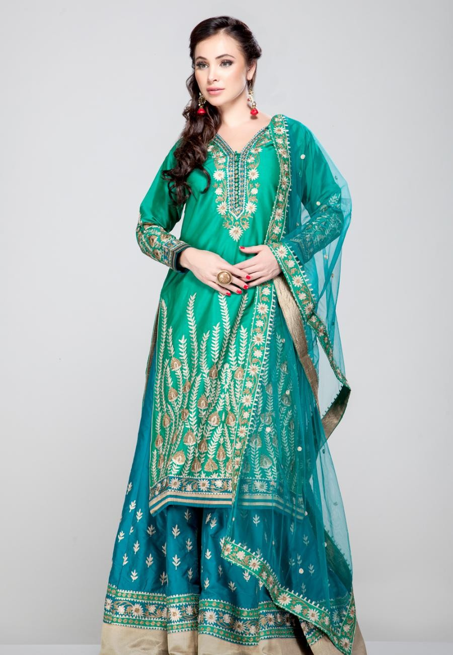 Buy Green floral zari embroidered pure silk kurta and Turquoise blue pure silk sharara set-ZBSUSEH0121016GRN Online