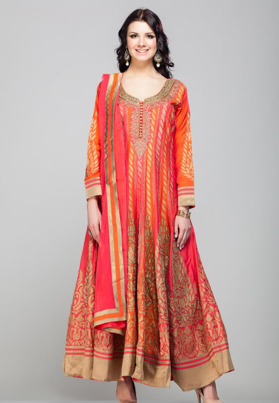 Buy ORANGE PURE SILK GOTTA WORK ANARKALI SET-ZBSUSEH0121020 Online
