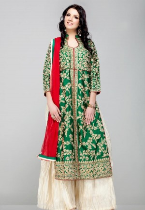 Buy GREEN FLORAL RESHAM KASAB EMBROIDERED KURTA AND IVORY PALAZZO PANTS SET-ZBSUADK0120927GR Online
