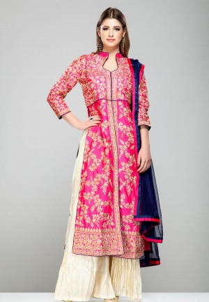 Buy PINK FLORAL RESHAM KASAB EMBROIDERED KURTA AND IVORY PALAZZO PANTS SET-ZBSUADK0120927PNK Online