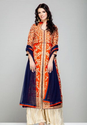 Buy Orange floral resham kasab embroidered kurta and ivory palazzo pants set-ZBSUADK0120927OR Online