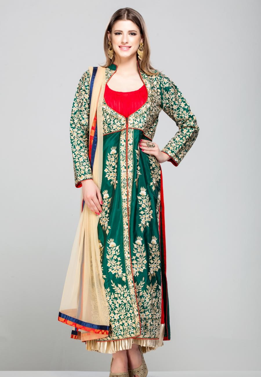 Buy Green pure silk embroidered jacket with red crushed anarkali inlay-ZBSUADK0120925GR Online