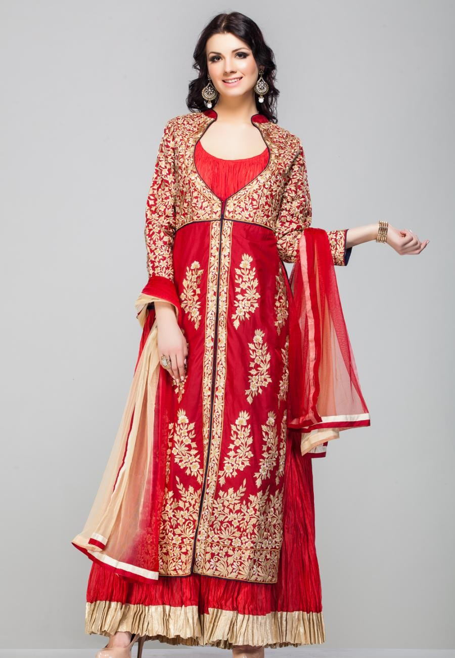 677a0f4651a Buy Maroon pure silk embroidered jacket with maroon crushed anarkali  inlay-ZBSUADK0120925MR Online