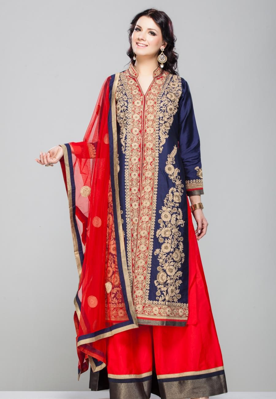 Buy ROYAL BLUE FLORAL GOLD ZARI EMBROIDERED FRONT OPEN PANEL KURTA WITH RED PURE SILK SHARARA SET-ZBSUSEH0121015 Online