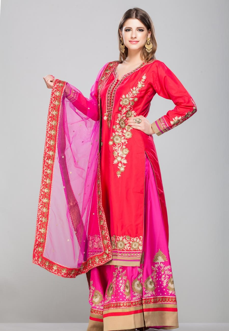 Buy RED FLORAL ZARI EMBROIDERED KURTA AND MAGENTA PURE SILK SHARARA SET-ZBSUSEH0121008dpnk Online