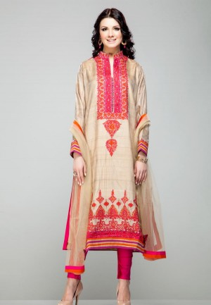 Buy Beige floral thread embroidered kurta and churidaar pants set-ZBSUSEH0121004 Online