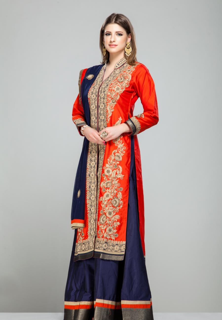 Buy Orange floral gold zari embroidered front open panel kurta with royal blue silk sharara set-ZBSUSEH0121015 Online