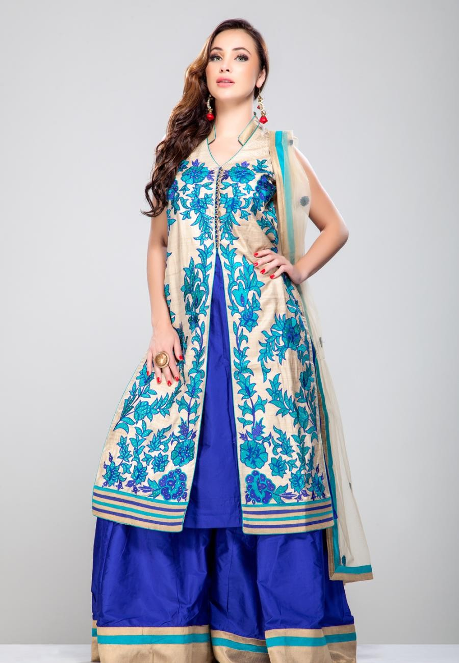 Buy Beige floral thread embroidered front open panel kurta with royal blue pure silk sharara set-ZBSUSEH0121005 Online
