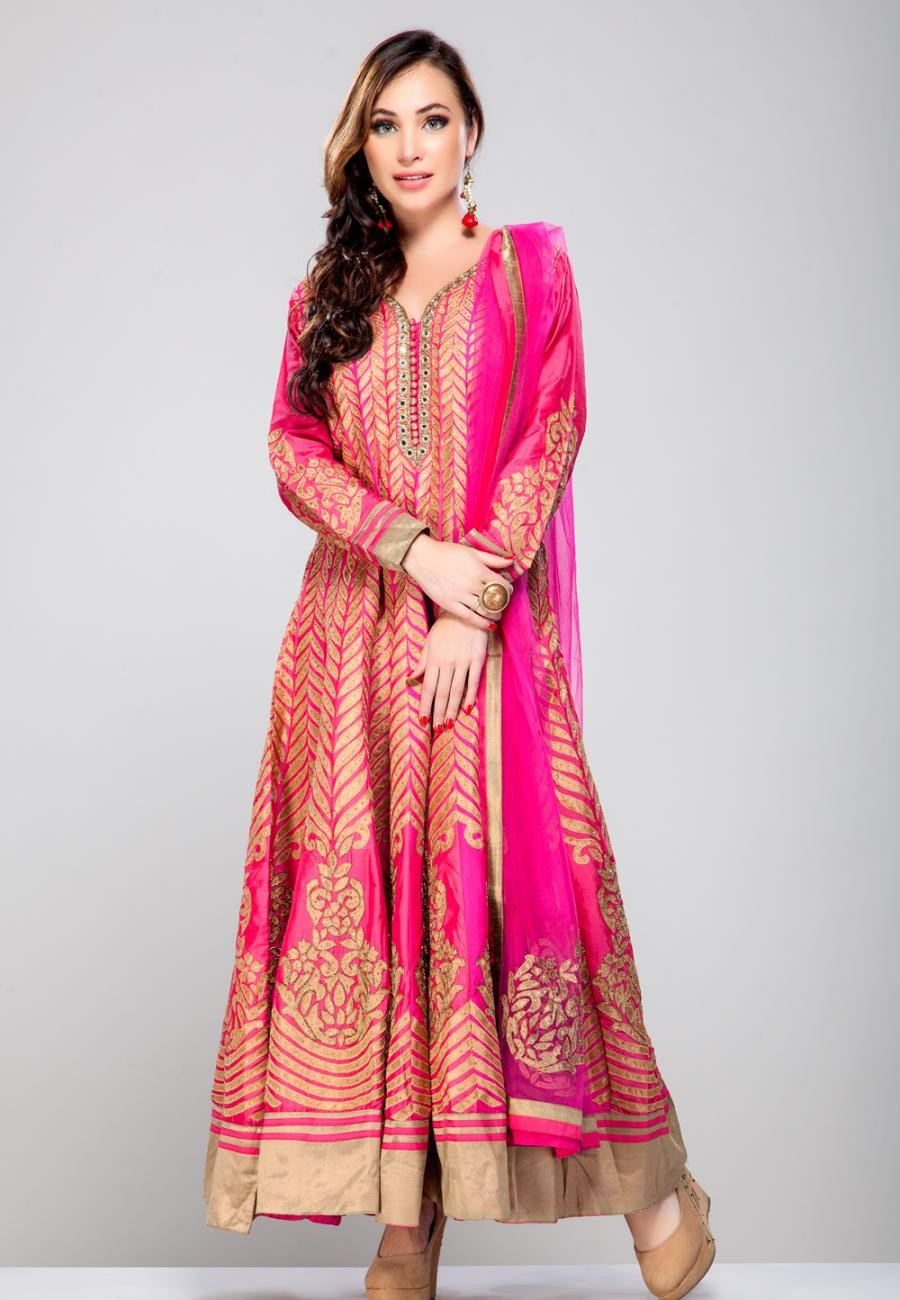 Buy Fuschia Pink pure silk gotta work anarkali set-ZBSUSEH0121019 Online