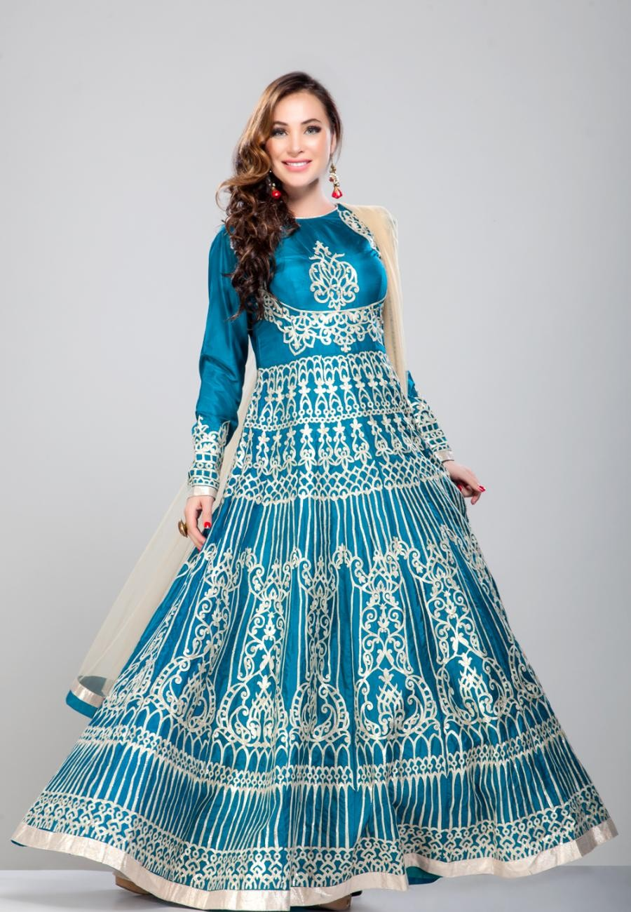 Buy Turquoise Blue Silk gotta work anarkali-ZBSUANT0120893 Online