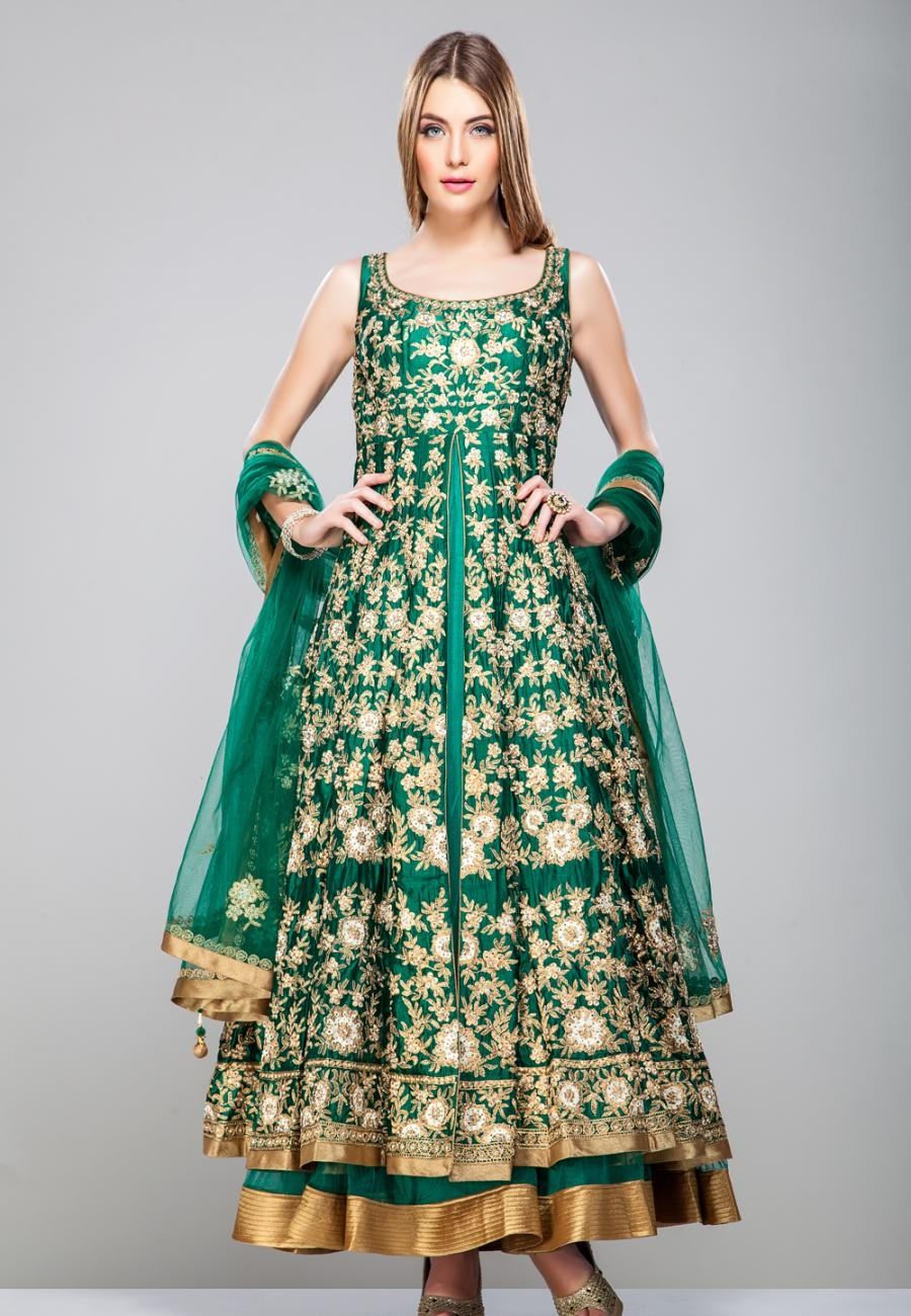 Buy Green and gold silk anarkali set-ZBSUKA0120981 Online
