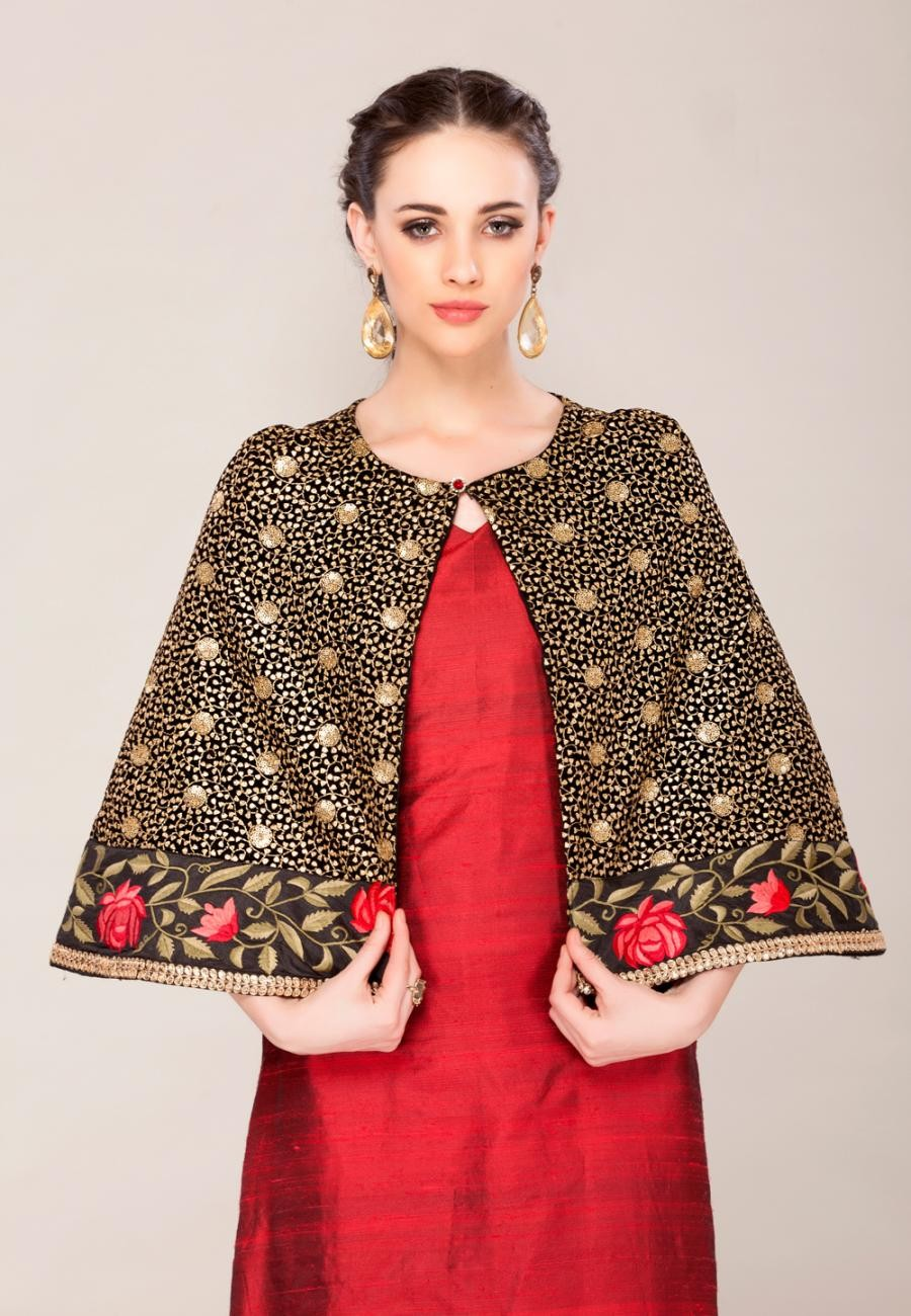 Buy Dark Red and black embroidered Cape Suit set-ZBSUKIN0120846 Online