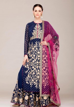 Buy Royal Blue Georgete sharara suit set-ZBSUSK0120854RBLU Online
