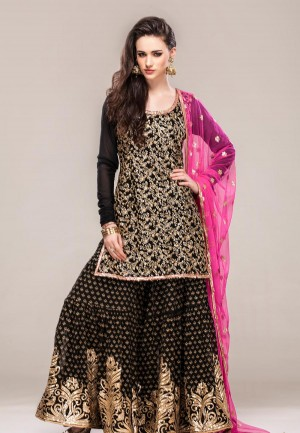 Buy Black georgette shirt with gold zari work and sharara set-ZBSUSK0120859 Online