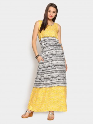 Buy Global Desi Women White & Yellow Printed Regular Fit Maxi Dress Online