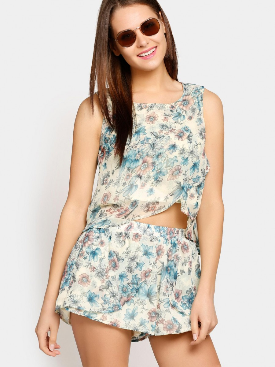 Buy abof Women Off-white & Blue Floral Print Top & Shorts Coordinate Online