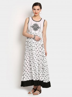 Buy Akkriti by Pantaloons Women White & Black Liva Printed Regular Fit Maxi Dress Online