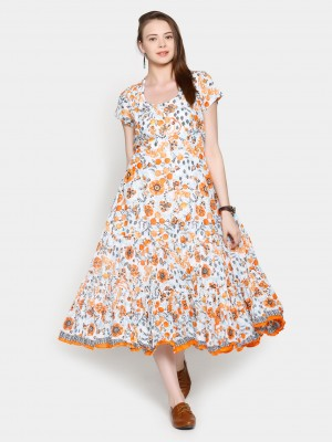 Buy Biba Women Suzani White & Orange Printed Fit & Flare Dress Online