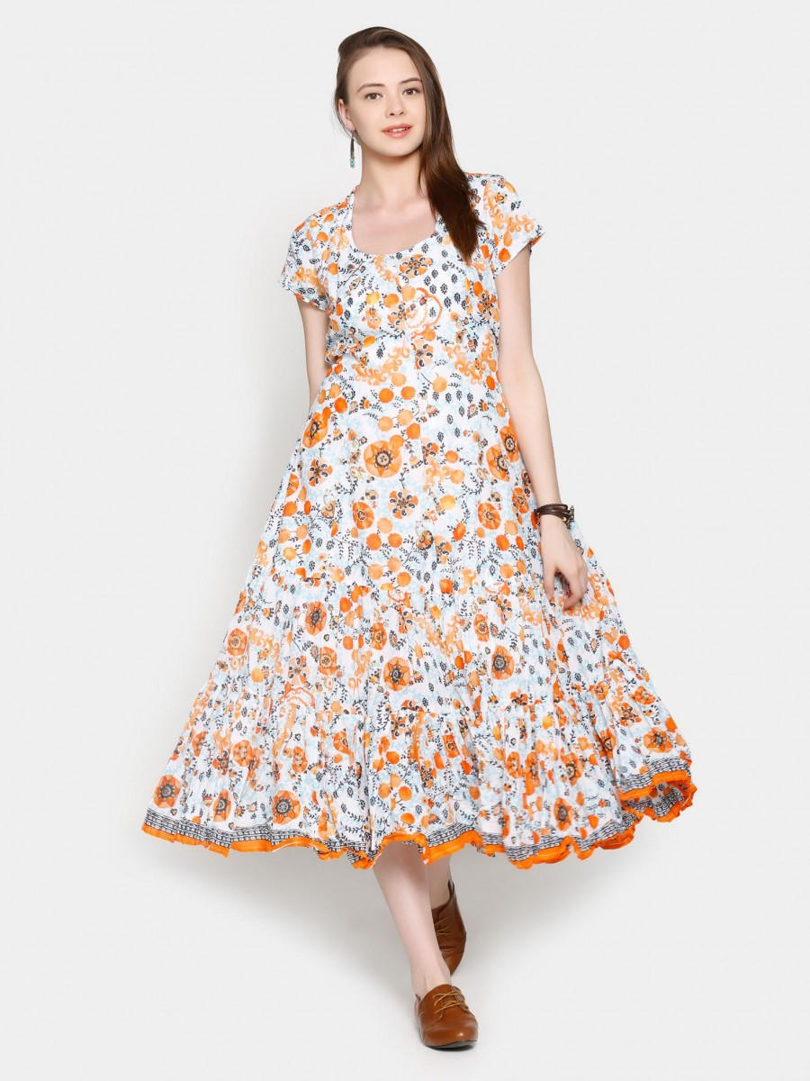 Exclusive Biba Women Suzani White Amp Orange Printed Fit