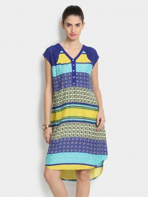 Buy Fusion Beats Women Blue & Lemon Yellow Printed Regular Fit Shift Dress Online