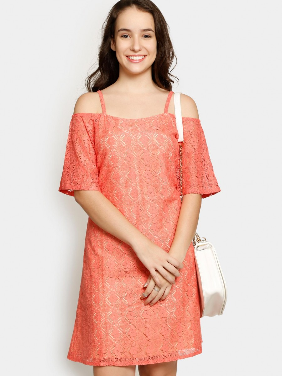 Buy Femella Women Coral Pink Lace Shift Dress Online