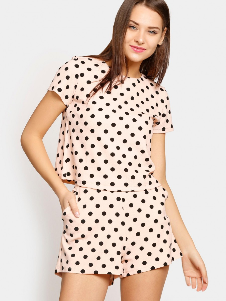 Buy abof Women Peach-colored Polka Dot Print Top & Shorts Coordinate Online