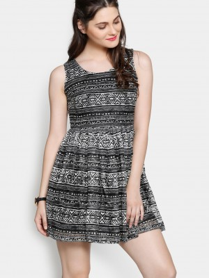 Buy Ginger by Lifestyle Women Black & White Lace Printed Fit & Flare Dress Online