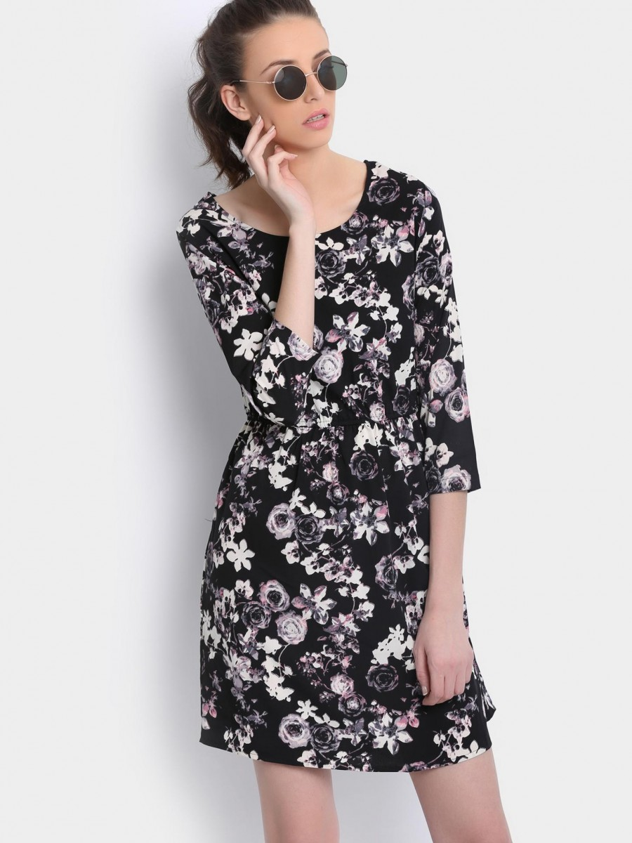 Buy abof Women Black Floral Print Dress Online