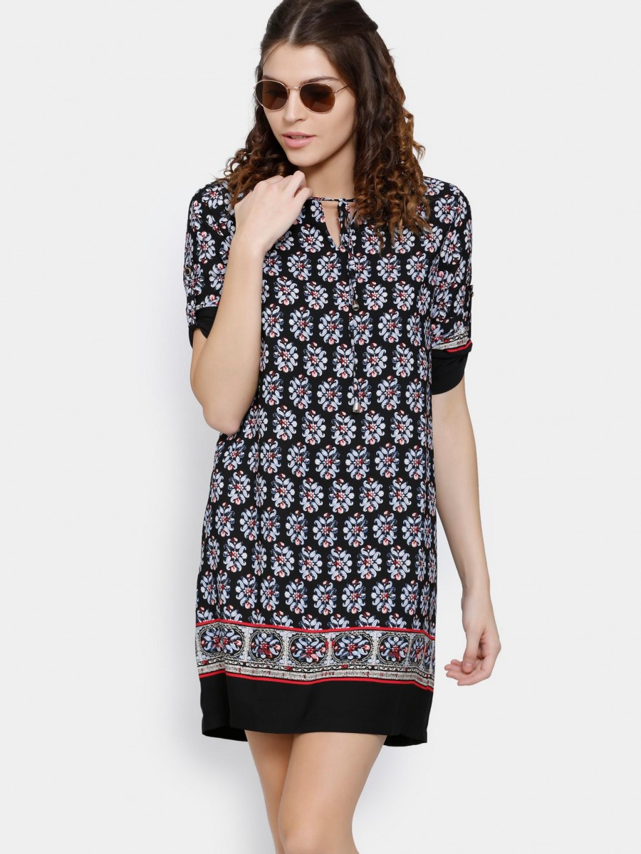 Buy abof Women Black Printed Shift Dress Online