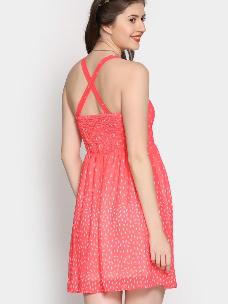 Buy abof Women Coral Red Printed Fit & Flare Dress Online