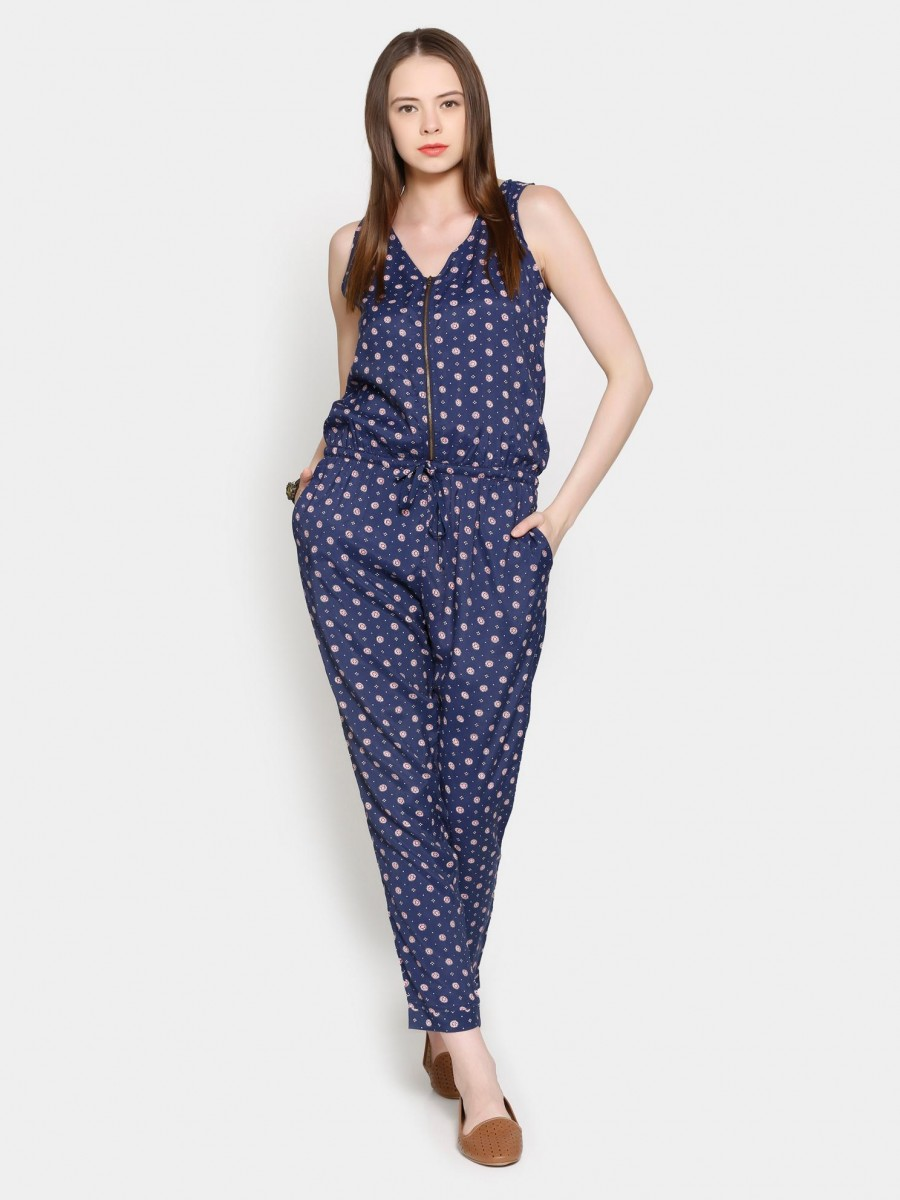 Buy abof Fusion Navy Printed Jumpsuit Online