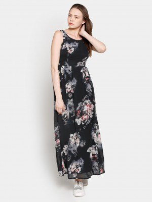 Buy Code by Lifestyle Women Black Printed Maxi Dress Online