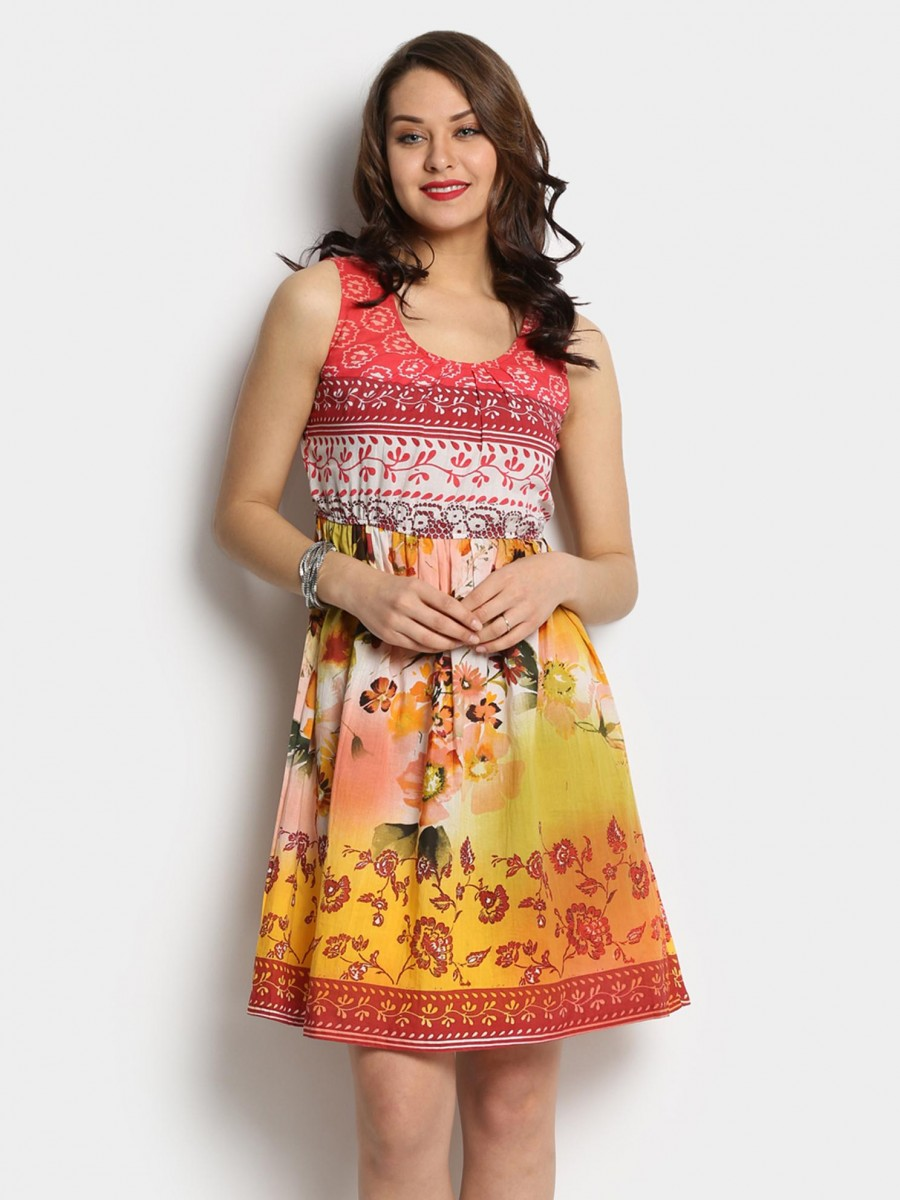 Buy Rain and Rainbow Women Multicolor Printed Fit & Flare Dress Online