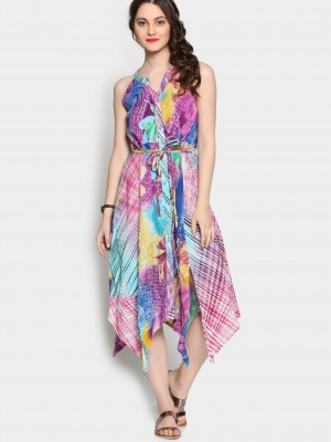 Buy Rain and Rainbow Women Multicolor Printed A-line Dress Online