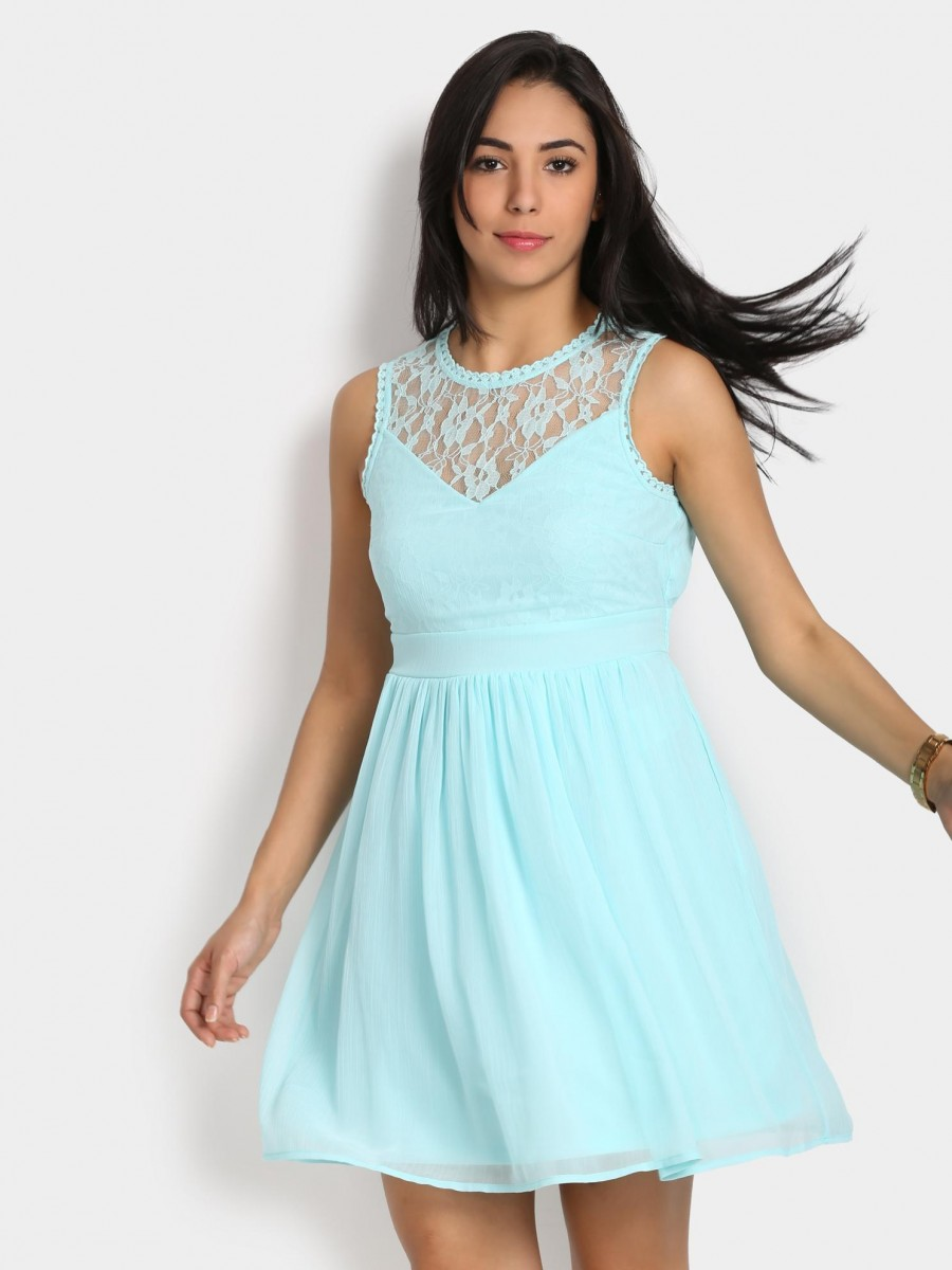 Buy Vero Moda Women Aqua Blue Fit & Flare Dress Online