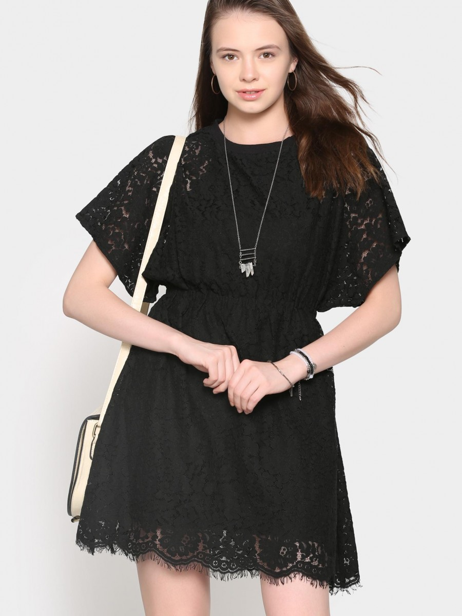 Buy abof Women Black Lace Fit & Flare Dress Online