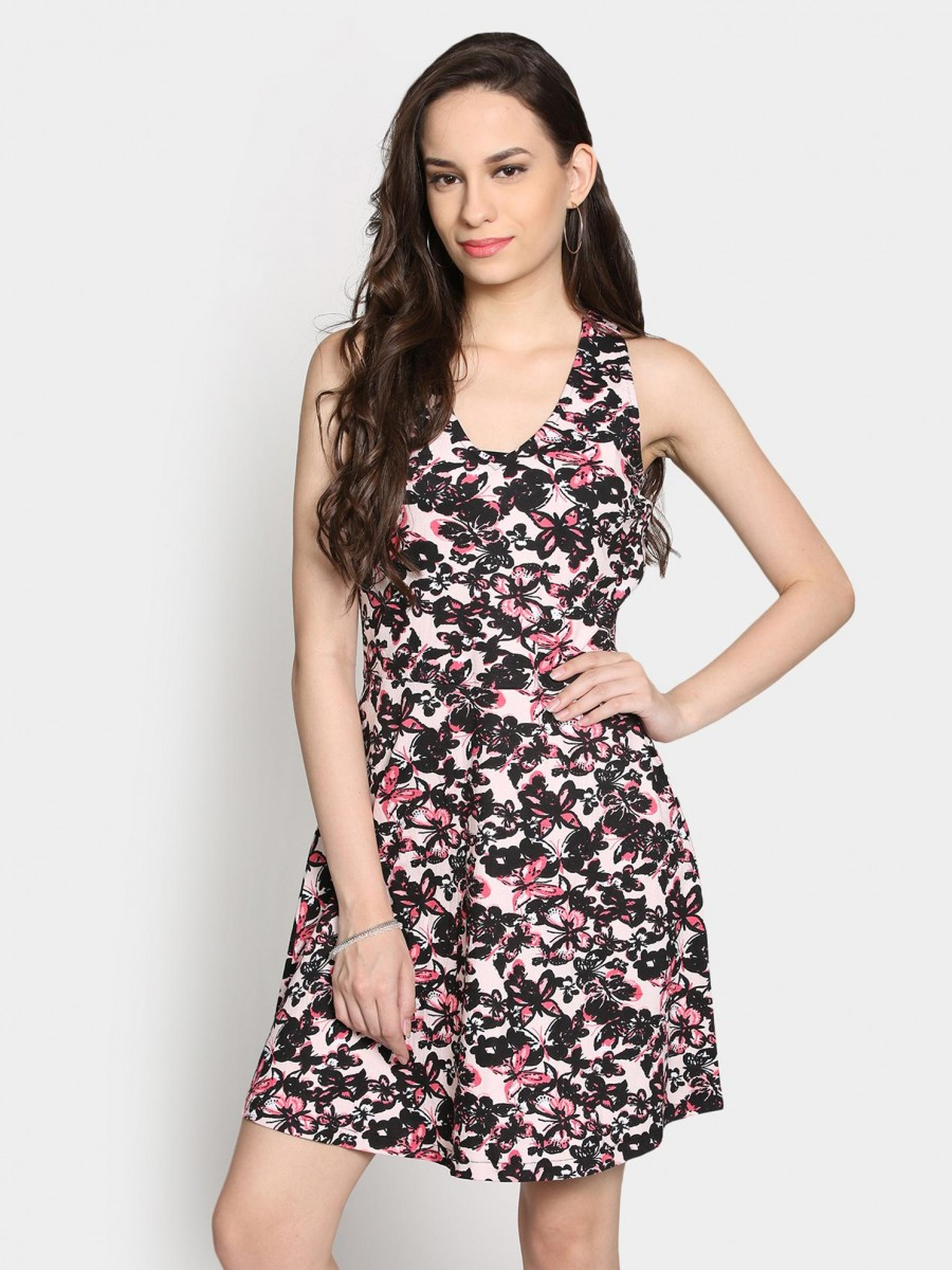 Buy Faballey Women Off-white & Black Printed Skater Dress Online