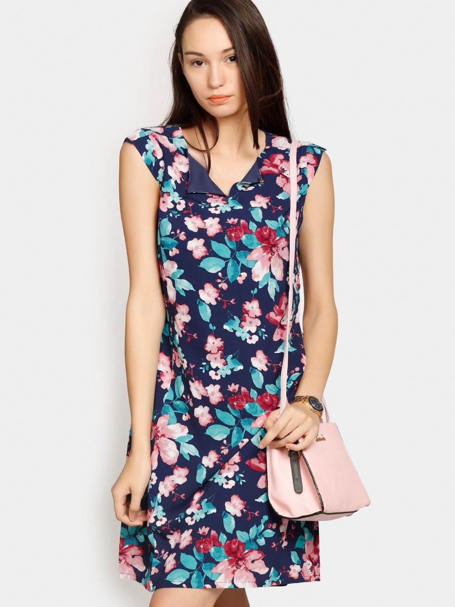 1862f3ee93 Buy Izabel London by Pantaloons Women Navy Floral Print Sheath Dress Online