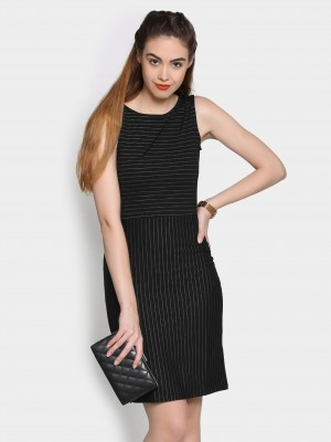 Buy Annabelle by Pantaloons Women Black Striped Slim Fit Sheath Dress Online
