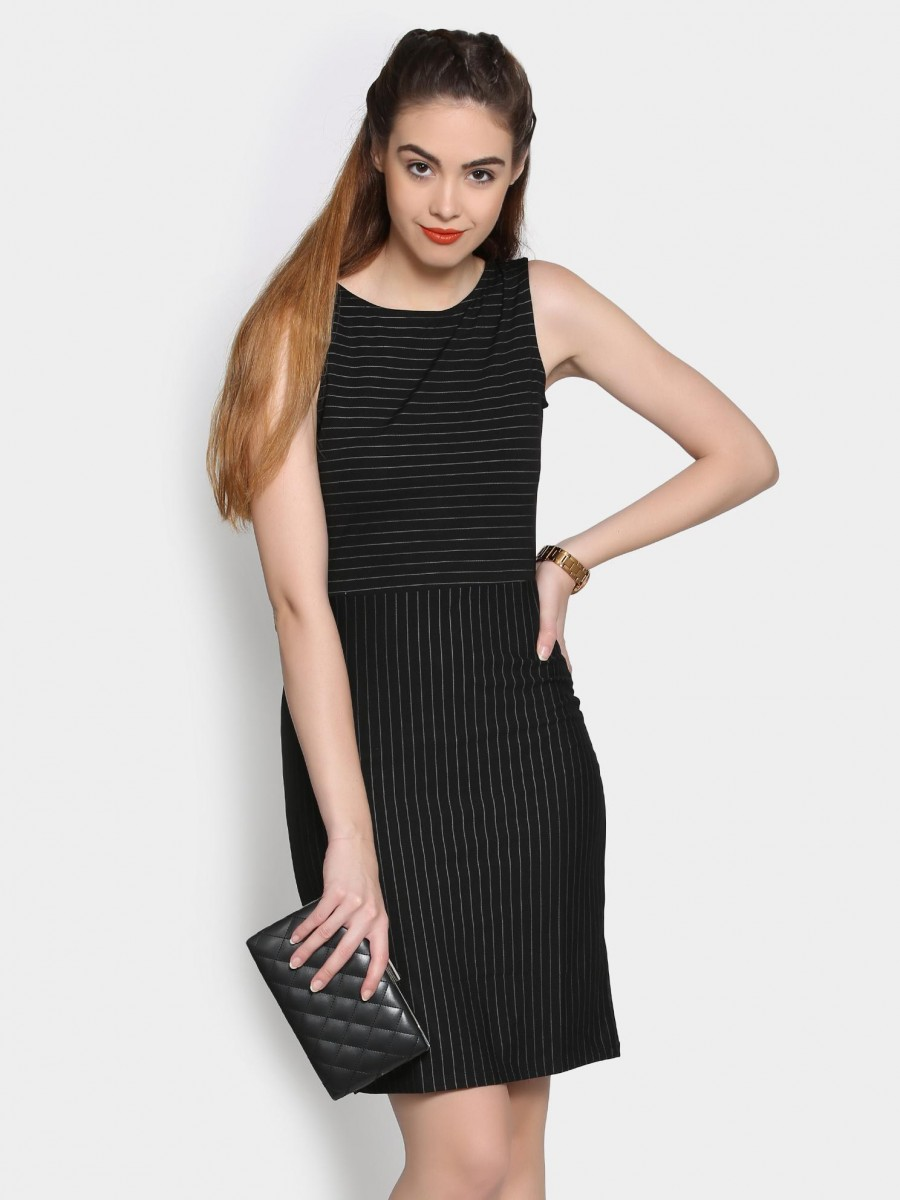 f0f96a071b Buy Annabelle by Pantaloons Women Black Striped Slim Fit Sheath Dress Online