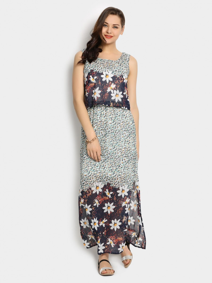 Buy Code by Lifestyle Women Off-white Printed Regular Fit Maxi Dress Online