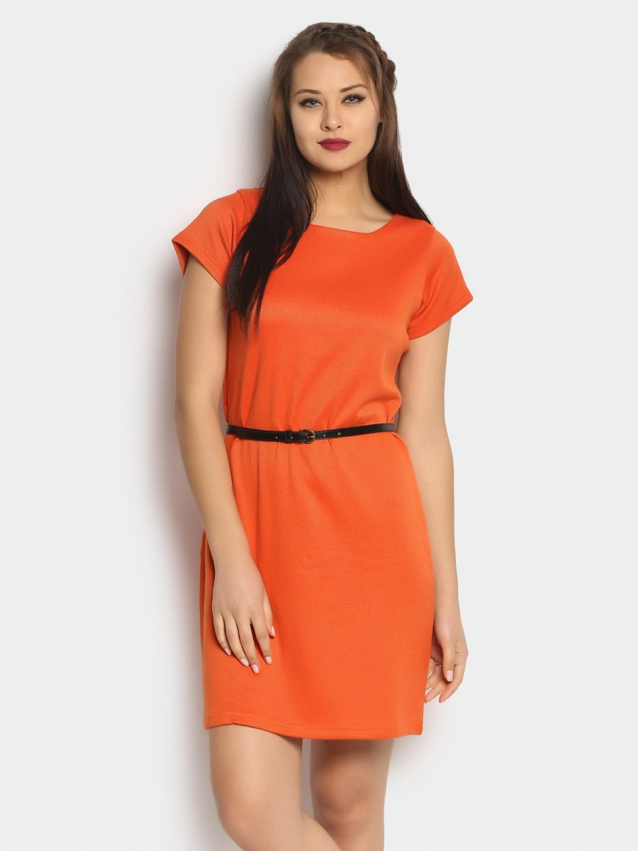 Buy abof Women Coral Red Jacquard Shift Regular Fit Dress Online