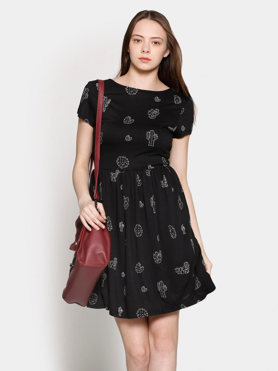 Buy Only Women Black Printed Fit & Flare Dress Online
