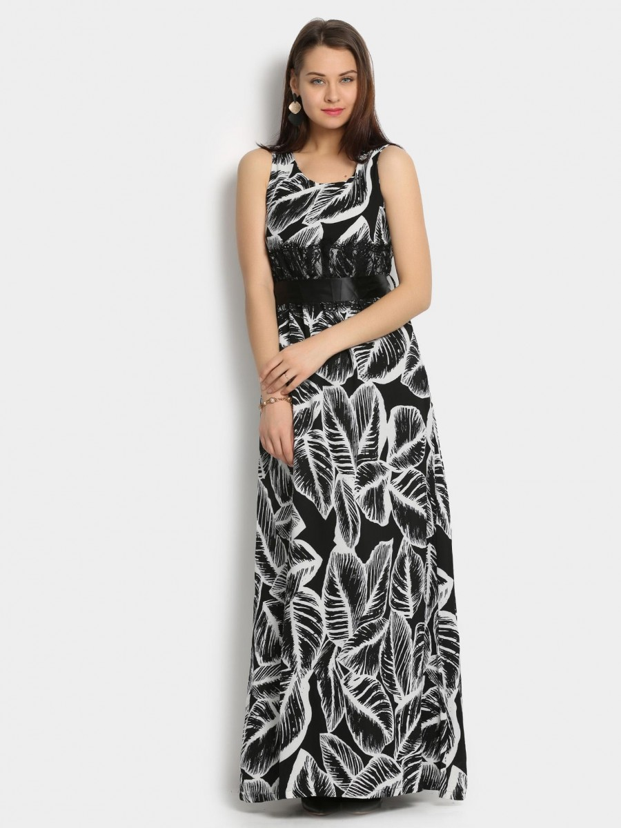 Buy Deal Jeans Women Black Printed Slim Fit Maxi Dress Online