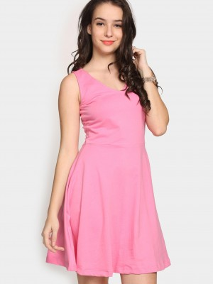 Buy Faballey Women Pink Skater Dress Online
