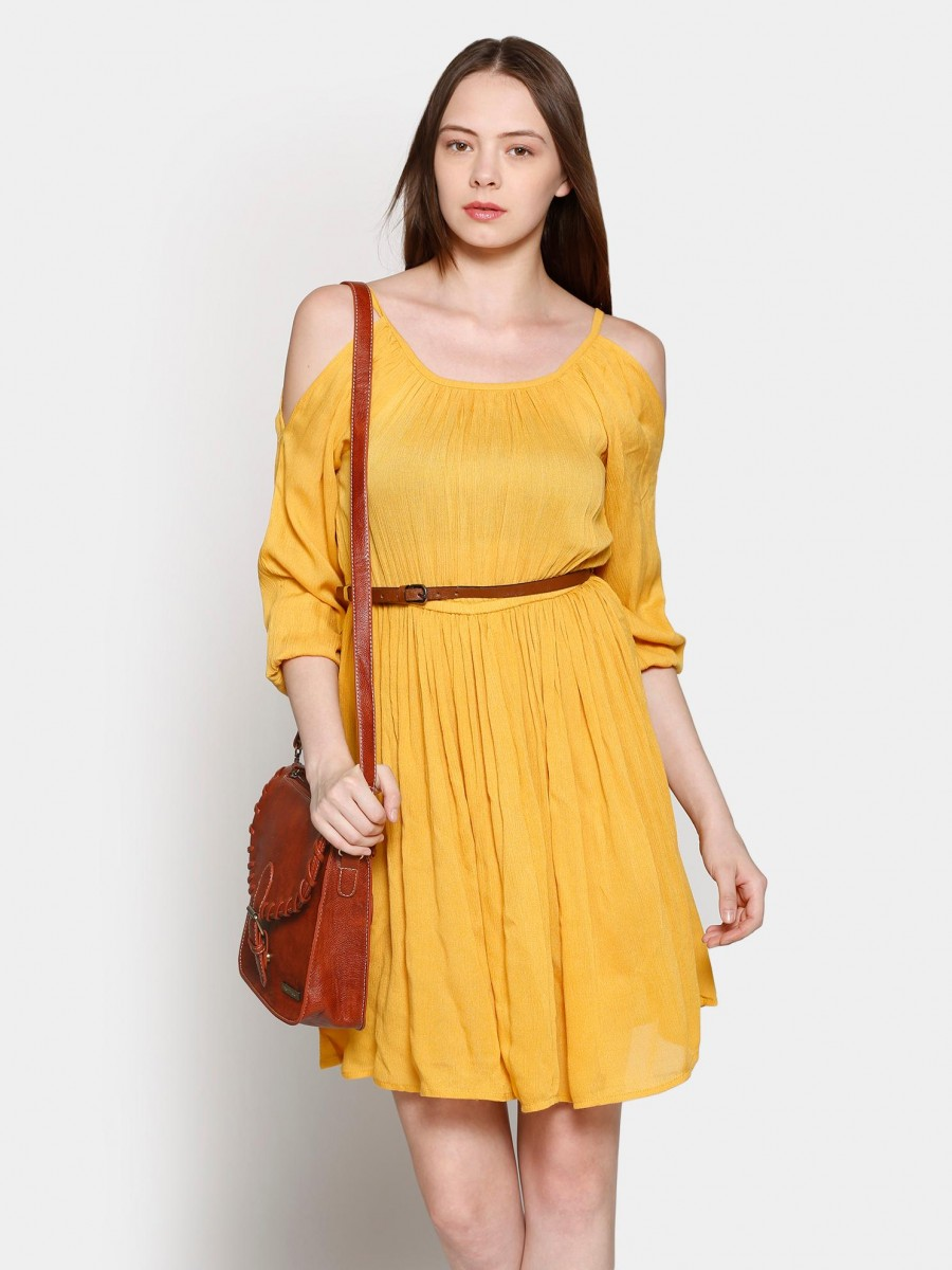 Buy Only Women Yellow Fit & Flare Dress Online