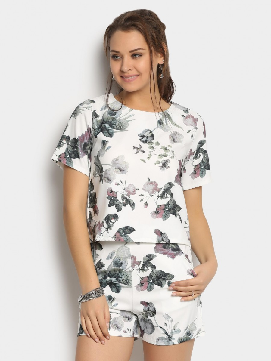 Buy abof Women White Floral Print Top & Shorts Coordinate Online