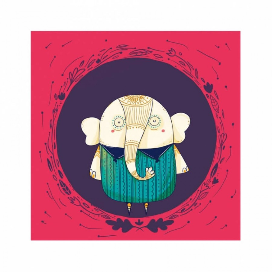 Buy Circle Elephant Red Wall Art Online
