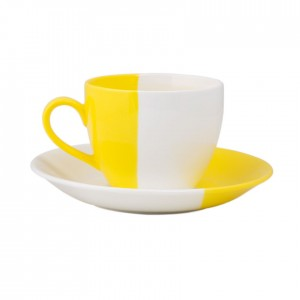 Buy Colour Dip Cup & Saucer - Yellow Online